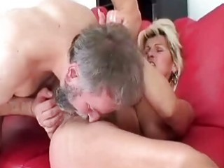 horny granny riding her lovers cheerful old penis