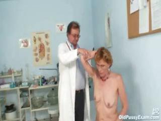 mature lady mila goes for an exam and shows off