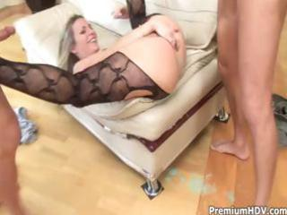 slutty blonde mother i acquires into a threesome
