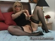 golden-haired mum in glasses licking hard