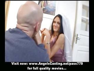 outstanding brunette bride doing oral-service