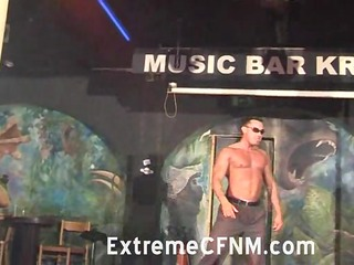 girlfriend engulfing a strippers dong on stage