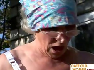 granny receives reamed by young chap outdoors