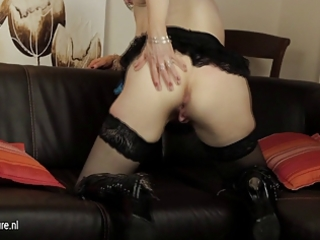 european older mamma playing with her