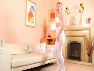 hot mamma in white pantyhose undress