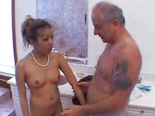 grandad blown by hawt asian gal in shower 1