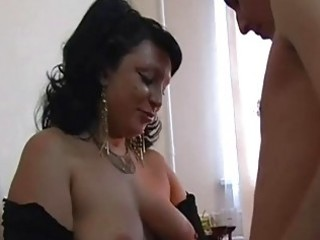 large tits chubby older brunette...