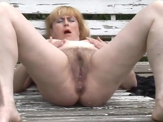 overweight older with bushy cum-hole outdoors by