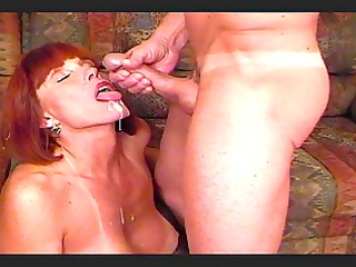 Big Titted Twyla gets cumshot over her face.