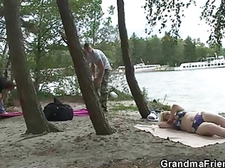 old bitch takes large cocks near the river