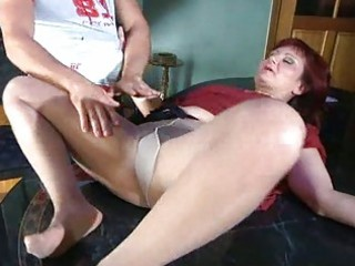 lustful mama with nylon tights stuffed under hose