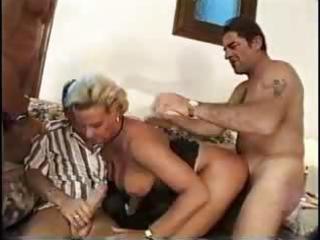 busty blond milf gangbang