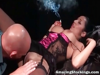 smocking mother i in hot underware and nylons