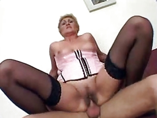 granny receives screwed and creampie