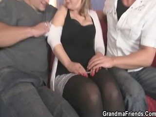 buddies pick up oldie and group-sex her hard