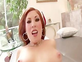 sexy redhead mother i rides jock for facial