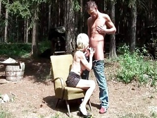 44yo granny getting drilled by young man outdoor