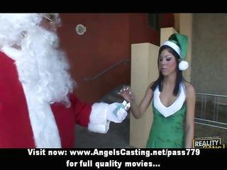 dark brown cutie getting twat licked by santa