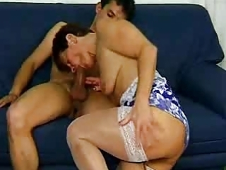 granny in white nylons excites the guy
