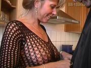 hot german mamma in fishnets makes him cum in in