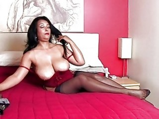 stunning brunette momma with massive bazongas in