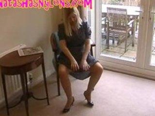 slut english wife in retro lingerie and silk