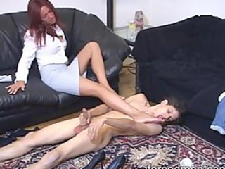 take up with the tongue the dominatrix-bitch legs