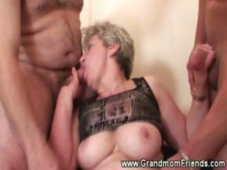 sexy granny dual cock engulfing