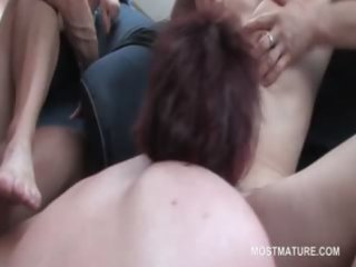 mature ambisextrous blond licking cunt in group