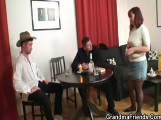 poker playing granny is fucked by chaps