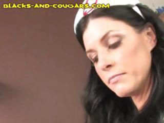 lustful aged dark brown nurse molests her hawt