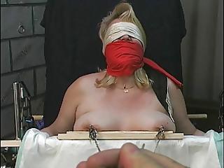 old chap tortures corpulent blonde&s big