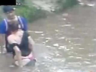 drunk milf copulates a boy in the river