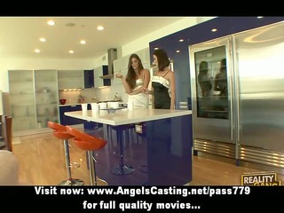 lesbo dark brown beauties cooking and flashing