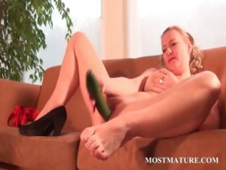 wicked mom nails her cum-hole with a cucumber