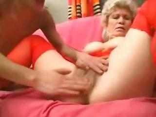 granny in red stockings strapons the boy