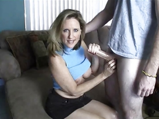 mommy gives cook jerking toyoung chap