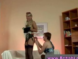 older british lady dresses blonde in nylons