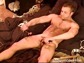 built bear punishes his own balls with clamps. a