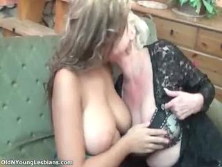horny aged lesbian golden-haired enjoys