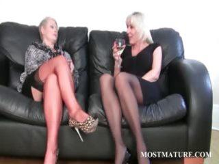 blond lesbian rubs her mature cum-hole