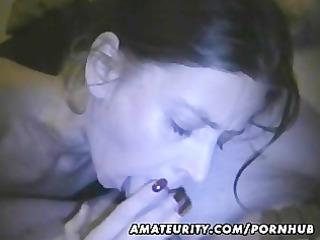 dilettante girlfriend home fellatio with cum in