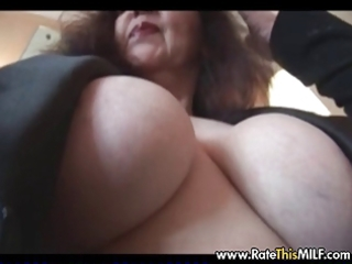 Older mature milf in vintage stocking with shaved
