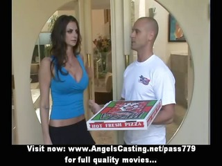 sexy brunette does oral-sex for lad with pizza on