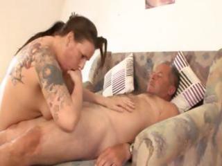fat older german dark brown with tattoos rides