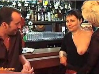 three-some with older women in a bar