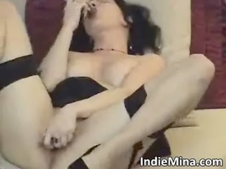 dirty dark brown whore copulates her wet cum-hole