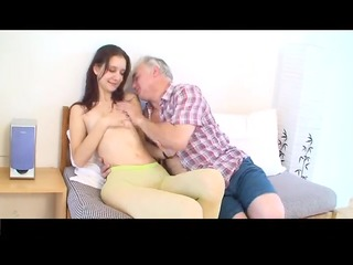 tiny tittted angel acquires fucked by mature man