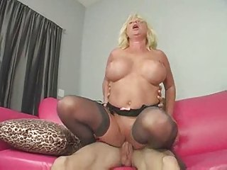 hawt older breasty blond cougar licks butt
