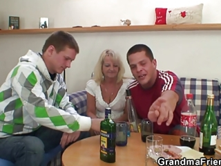 partying guys screw granny
